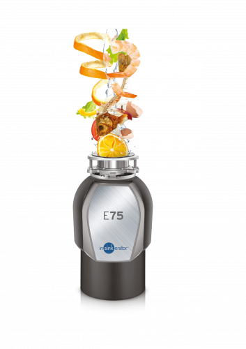 InSinkErator E75 Food Waste Disposer - cutout with food