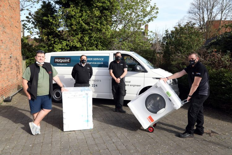 Presentation of fridge and washing machine to new Niamh's Next Step charity shop,  l-r Chris Curry (founder of Niamh's Next Step), Colin Dowell (area service manager), Robert Stedman and Darren Gidney ( technical service engineer). Whirlpool UK Applicances Ltd Monday April 26th 2021
